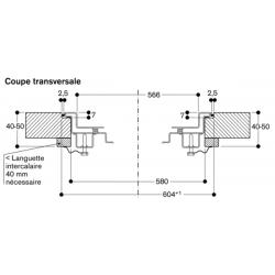 CG492211 Gaggenau Table Gaz 100 cm 5 foyers gaz naturel Série 400 - coupe transversale
