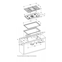 CG492211 Gaggenau Table Gaz 100 cm 5 foyers gaz naturel Série 400 - montage